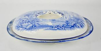 A blue and white Burleigh ware tureen of shallow form, depicting an Indian palace and gardens, 29 by