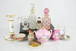A group of ceramics and glass, to include Prattware pot lid, a ceramic candlestick painted with