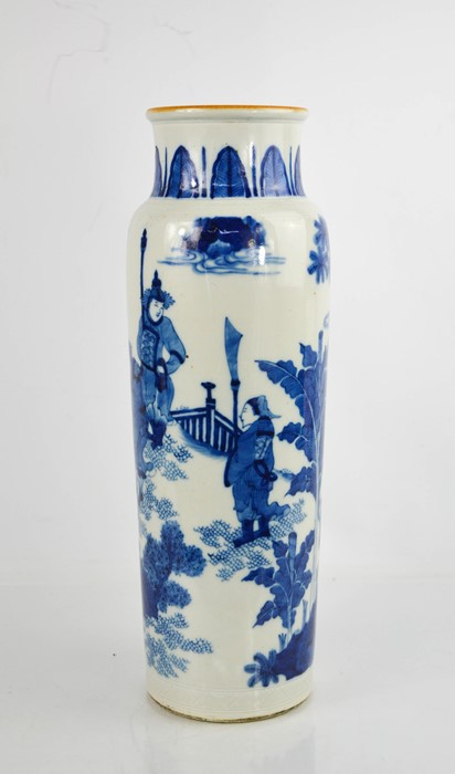 A Chinese blue and white vase, depicting figures in landscape, 40cm high.