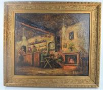 A framed oil on canvas depicting a tavern scene - signed