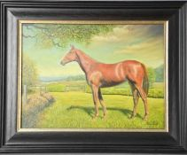 A 20th century oil on canvas, portrait of a horse.
