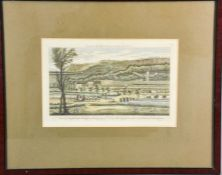 A 19th century coloured engraving, view of Chatsworth House, engraved for the Modern British