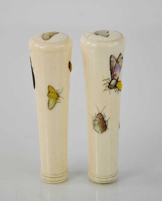 A pair of Shibayama 19th century bone and mother of pearl umbrella handles, depicting insects, - Image 3 of 5