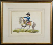 A French 19th century coloured print, Field Marshall Von Bloucher, Prince of Wagstadt, 22 by 28cm.