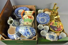 A group of mixed ceramics to include, Delft Regina jugs, Chinese bowl , wooden tray , Crown Devon
