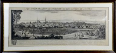 An original 18th century print of the South Prospect of Stamford in the County of Lincoln, dated