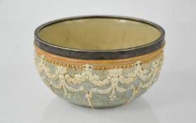 A Doulton & Slaters stoneware bowl, inscribed L.F, ROBA to the base, and impressed with makers