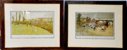 A pair of modern Cecil Aldin prints, The Cottesbrook Hunt and The Fallowfield Hunt, both printed