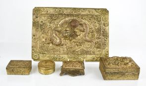 A group of gilt metal Chinese trinket boxes, embossed with decoration, together with a tray