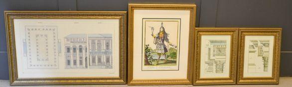 A group of framed prints and illustrations to include, Vue et plan d'une Naumache, Habit de