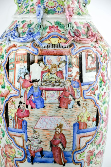 A large Chinese famille rose vase, with raised dragons to the shoulders, enamelled with butterflies, - Image 2 of 3