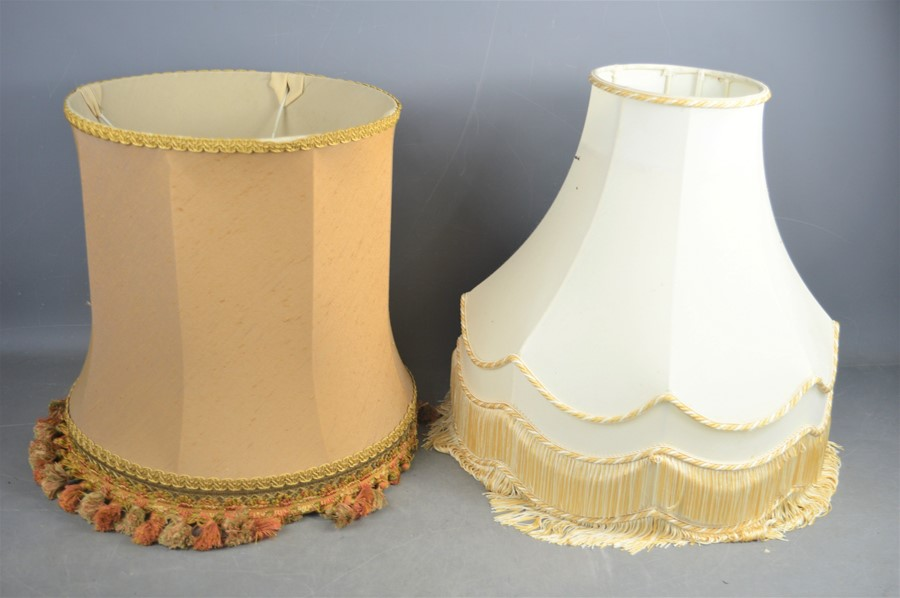 A pair of brass Art Deco style table lamps with shades, 56cms tall, together with 2 Victorian copper - Image 2 of 2