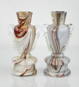 A pair of mid-century marbled glass vases circa 1950.