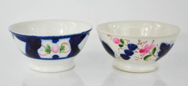 Two 19th century Russian bowls, both bearing puce makers mark to the bases, 17cm diameter.