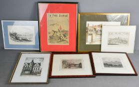 A group of 19th century prints and pictures including 18th century view of Sigen, The Menai