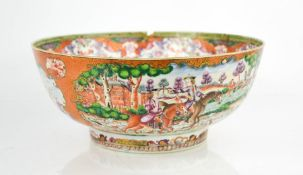 A late 18th / early 19th century Chinese bowl, the enamelled vistas depicting hunting scenes with