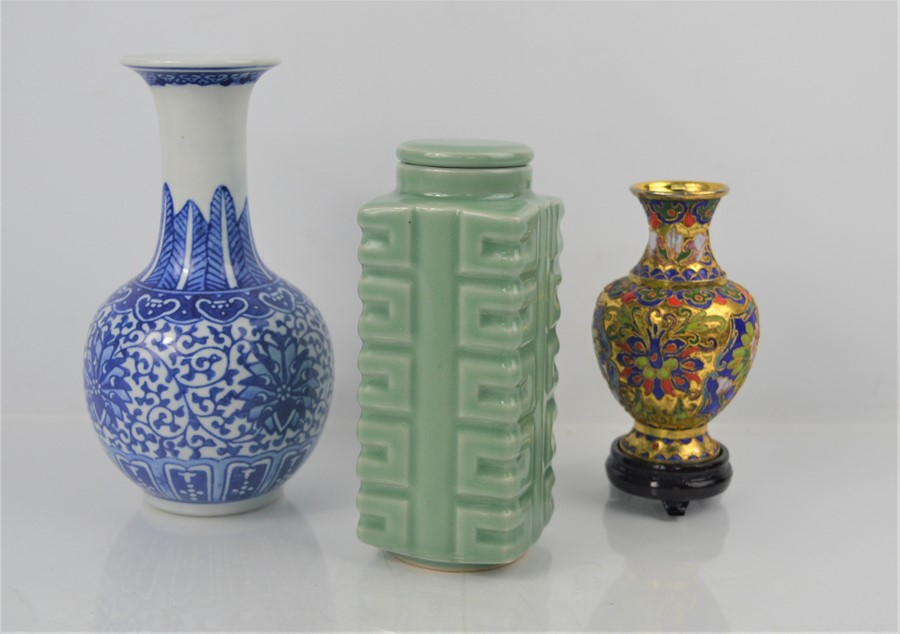 A 20th century Chinese Longquan style celadon cong vase together with a cloisonne vase on stand