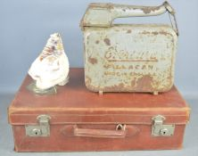 A vintage carved cameo shell lamp - 22cm together with a vintage fuel can and suitcase