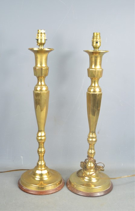 A pair of brass Art Deco style table lamps with shades, 56cms tall, together with 2 Victorian copper