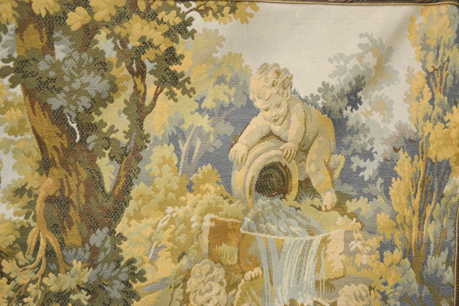 A French tapestry panel depicting a house in wooded landscape with cherub fountain to the fore. - Image 2 of 2