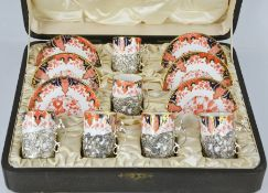A fine Royal Crown Derby Imari pattern 2712 set of coffee cans and saucers, with date code 1907,
