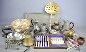 A group of silver-plate, brass and pewter to include silver collared fish knife and fork set,