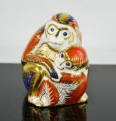 A Royal Crown Derby monkey and baby.