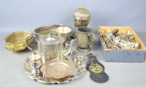 A quantity of brass and silverplate to include teapot,, tankard, tray, flatware etc