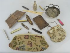 A group of collectibles to include a Jack knife, 1930s snakeskin purse, silver plated pencil,
