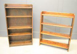 Two oak bookcases, 91cms tall x 77cms x 17cms, and 106cms tall x 62cms x 19cms