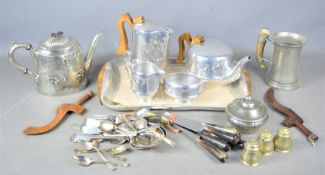 A vintage Picquot ware tea and coffee set and tray together with a quantity of silver-plate