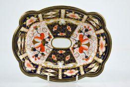 A Royal Crown Derby oblong scalloped shape dish, Imari pattern, 18 by 14cm.
