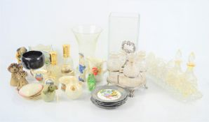 A group of collectibles to include cruet set, perfume bottles, crestware, glass vase, inkwell etc