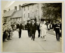 A black and white Fleet Street photograph of a Royal walk-about in Northamptonshire with Kenneth