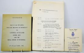A group of documents for the Royal Tour HM The Queen and The Duke of Edinburgh to Scotland 23-27th