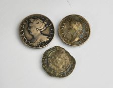 A King James II silver fourpence, 1687, a Queen Anne silver sixpence 1705, and a Queen Elizabeth I