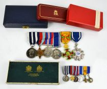 A set of Medals and Decorations Awarded to Kenneth Mayer together with the boxed miniatures, to