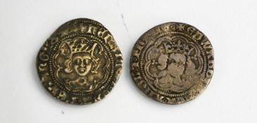 Two silver King Edward IV silver portrait groats, fourpence, second reign 1471-1483.