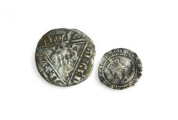 A silver Queen Mary I groat, 1553 - 1554, together with an Irish silver penny of King Edward I,
