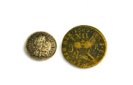 A King Charles II silver three pence, year of issue 1679. [One of the first milled or machine struck