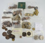 A group of British coins to include Victoria pennies,QEII threepence, farthing, Maundy coins, half