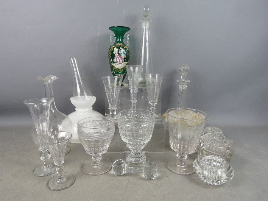 A quantity of Victorian glassware to include salts, decanter and other examples