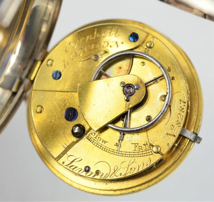 A 19th century Savory & Sons Cornhill London silver pocket watch with Roman numeral dial and key, - Image 2 of 3