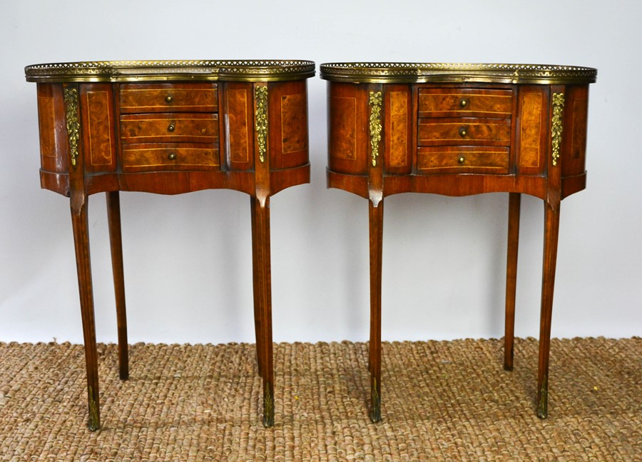 A fine pair of Louis XV style late 19th century burr elm and mahogany strung side tables, with