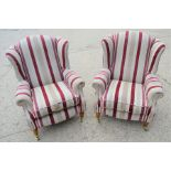 Two wingback armchairs in striped upholstery, 99cm high by 99cm high by 74cm wide by 78cm