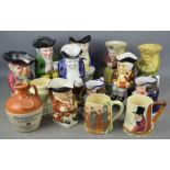 A group of 19th century and later character jugs to include some musical examples