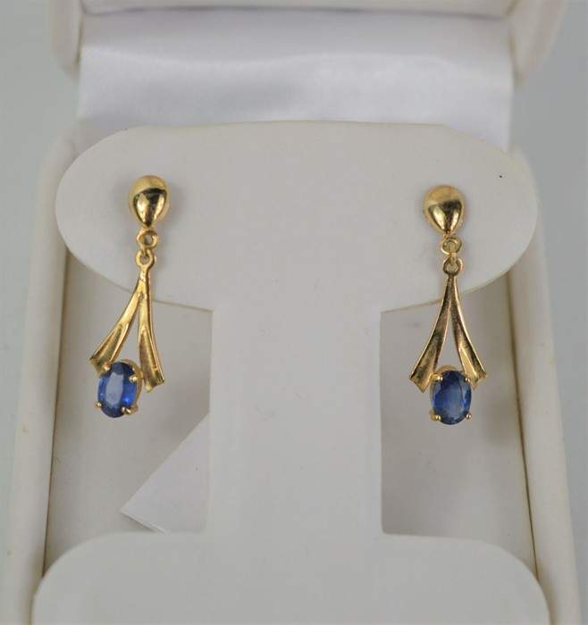 A pair of 9ct gold and sapphire drop earrings, 1.7g