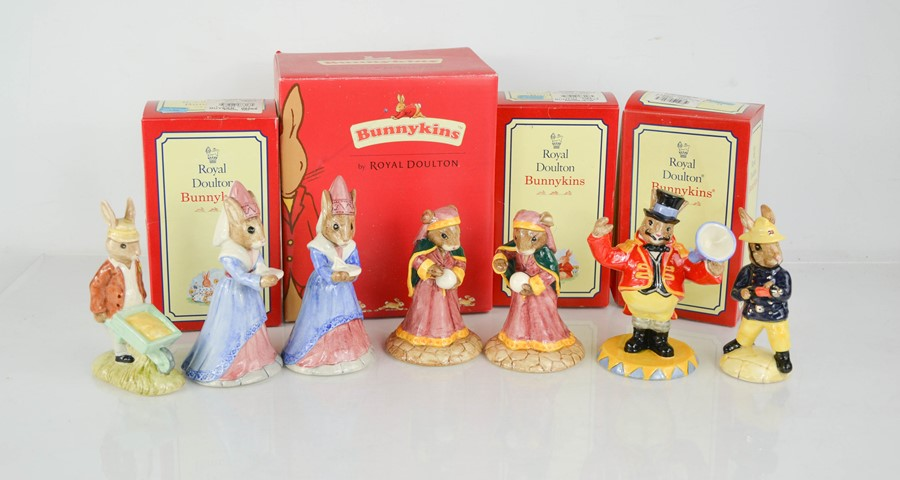 A group of seven Royal Doulton Bunnykins figures, some boxed.