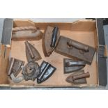 A group of antique irons etc