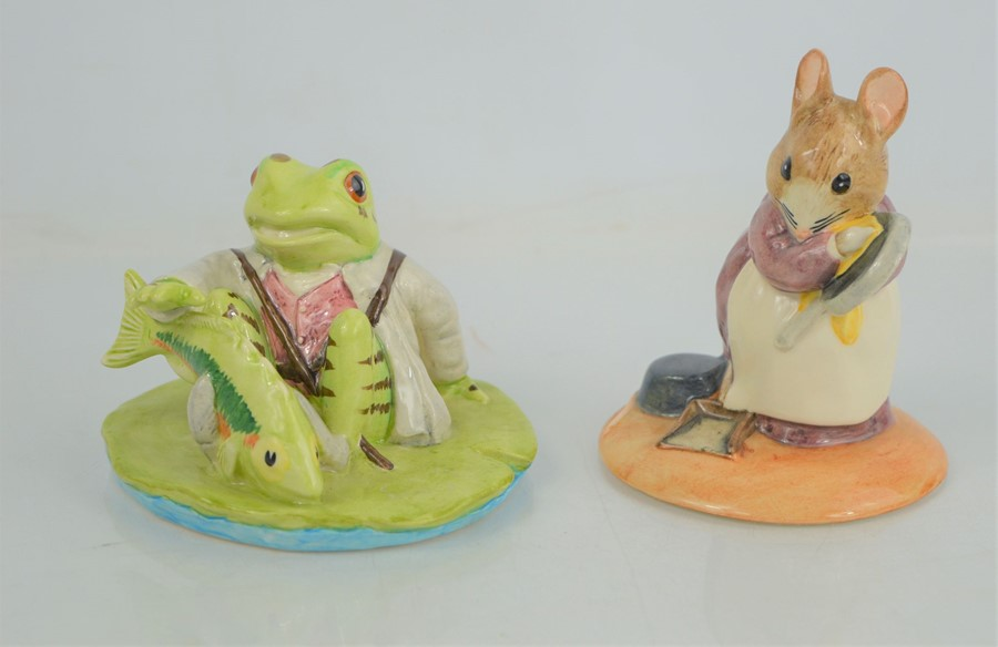 """Two Beswick Beatrix Potter Figures """"Jeremy Fisher Catches Fish"""" and """"Hunca Munca"""""""
